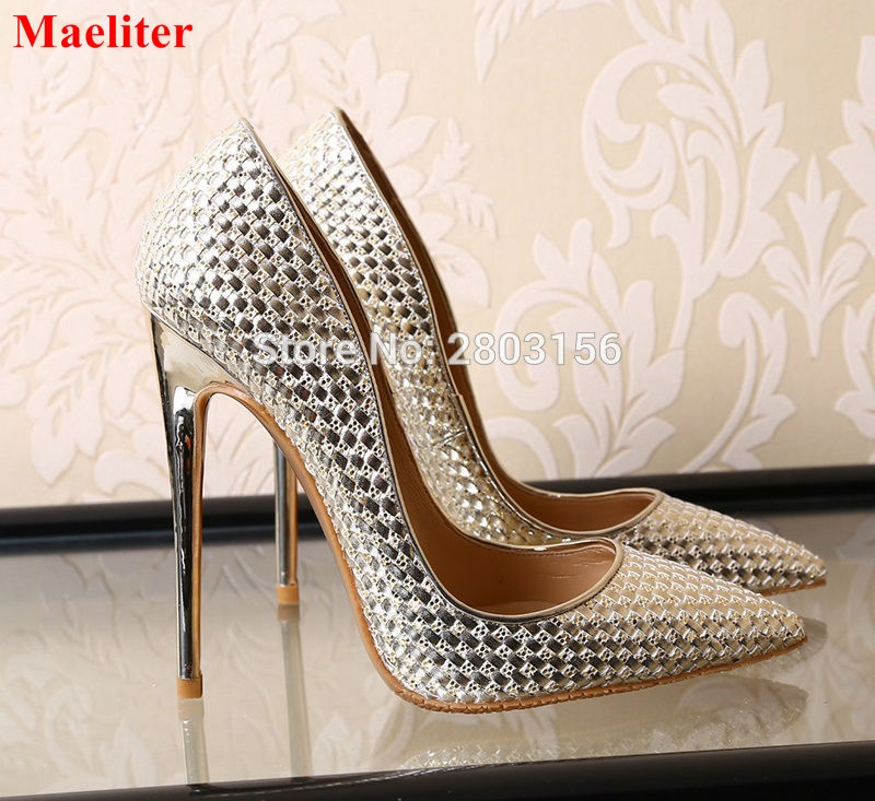 Woman High Heels Women Pumps Stiletto Thin Heel Women's Shoes Silver Pointed Toe High Heels Party Wedding Shoes