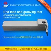 Zhuzhou sant ferramentas de corte cnc superfície grooving ferramenta titular QFKD2525L22-88L com inserções ZTKD0608-MG com boa qualidade