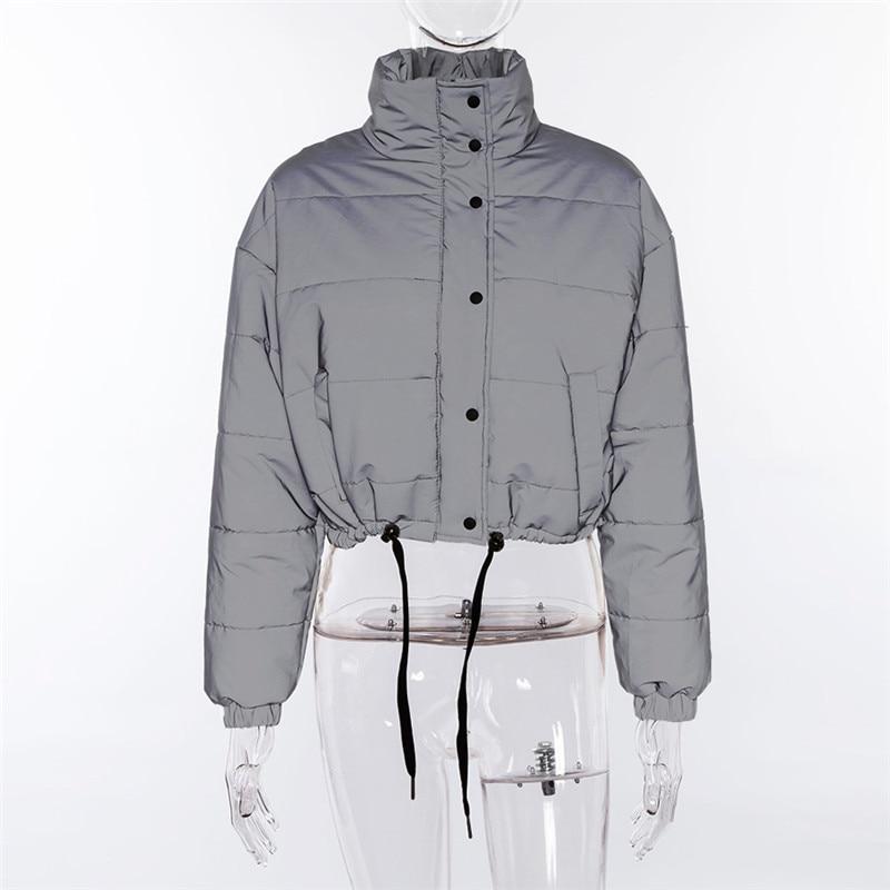 Dulzura flash reflective women padded jacket short tops warm 18 autumn winter solid zipper oversize loose outwear coats casual 19