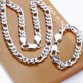 Fashion 925 Sterling Silver Jewelry Sets, 10mm Silver Singapore Twisty Chains, Silver Bracelets, Necklace S097