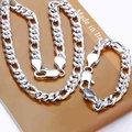 Moda prata esterlina 925 conjuntos de jóias, 10 mm prata cingapura Chains twisty, Pulseiras de prata, Colar S097