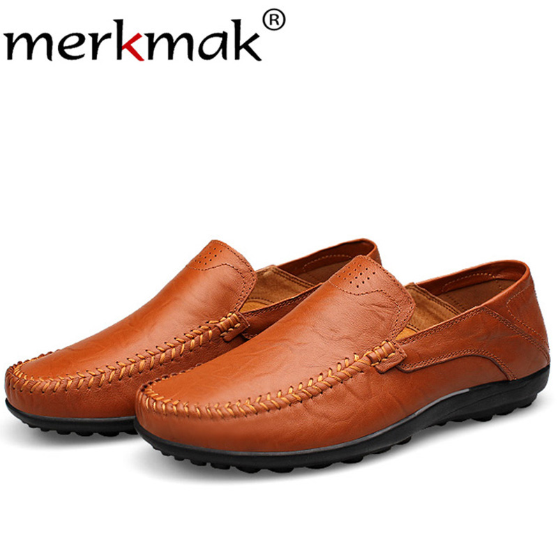 Merkmak Genuine Leather Men Spring Winter Fur Warm Shoes Casual Slip On Man Flats Comfortable Footwear Big Size 37-47 Drop Ship new 2017 men s genuine leather casual shoes korean fashion style breathable male shoes men spring autumn slip on low top loafers