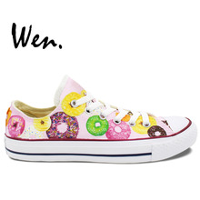 Wen Original Hand Painted Shoes Colorful Donuts Low Top Men Women's Pink Canvas Sneakers for Boys Girls Gifts