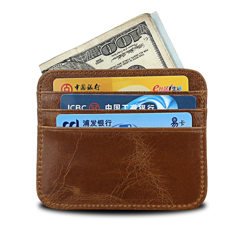 Men Genuine Real Leather Mini Wallet Slim Soft Credit ID Card Holder Purse