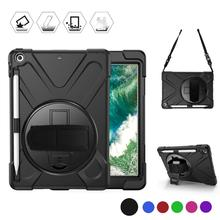 Conelz For iPad 9.7 2018/2017 Case Hybrid Heavy Duty Shockproof with Pencil Holder Shoulder Strap Hand Kickstand