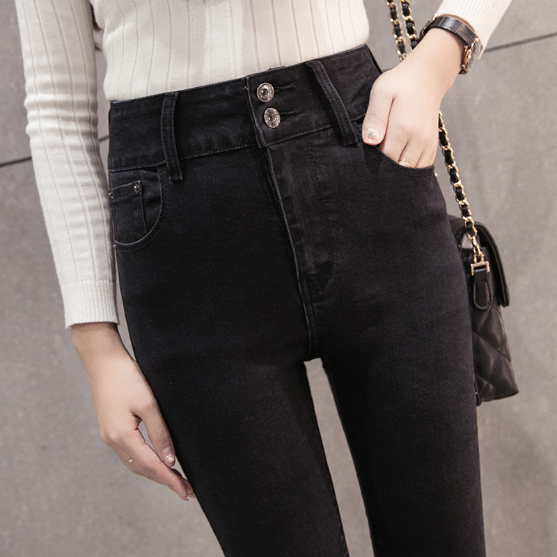 цены KJ282 Women High Waist High Elastic Jeans Female Black Slim Nine Pants Comfort Leisure Denim Trousers Fashion Pencil Pants Jeans