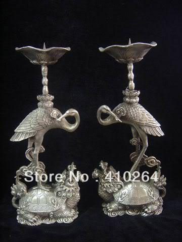 a pair chinese candlestick carved turtle pair Tibet Silver Stork statue