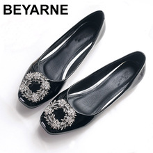 BEYARNE Women's Rhinestones Square Head flats shoes leather Fashion square Toe round Metal Buckle Comfortable Women Casual shoes