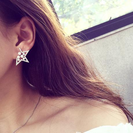 Nice Korean Crystal Lady hollow Simulated pearl Zircon star earring five-pointed star cutout Stud Earrings for women Fashiongift