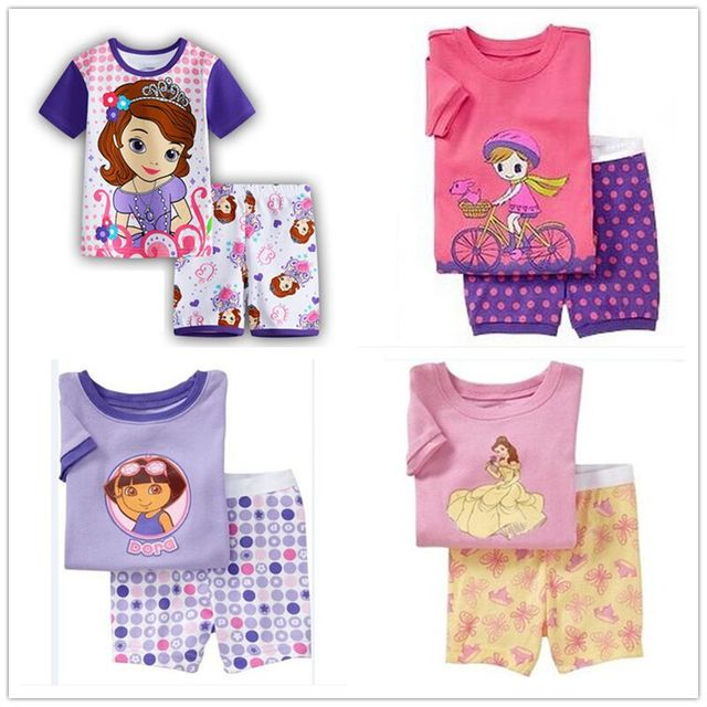 b6191ddf5b30 Children Cartoon princes Pajamas Sets Girls Boys Summer Pyjamas Kids ...