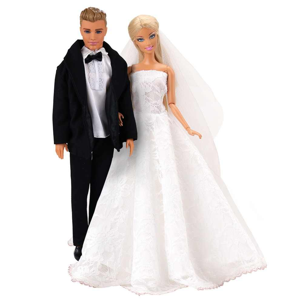 Newest Beautiful White Bride Wedding Dresses Cool Handsome Groom Suits For Barbie Ken Doll Accessories Elegant Handmade Princess