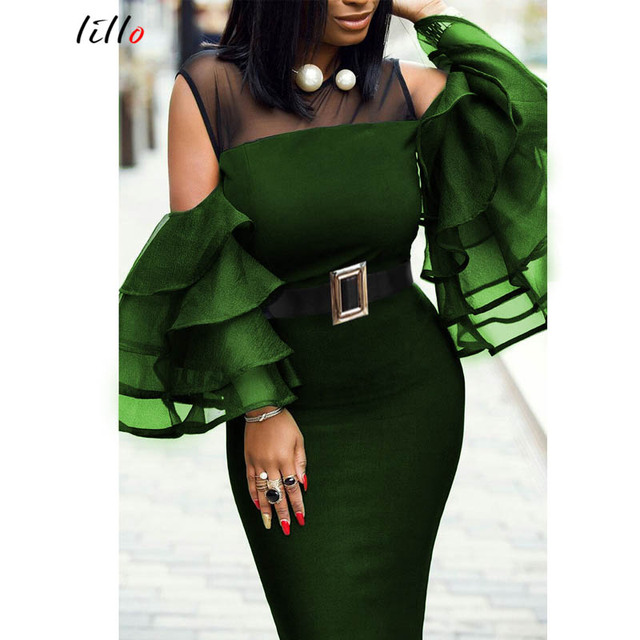 Plus size African women's party dress Spring and summer new sexy perspective tight-fitting hip dress  stitching sexy  dress