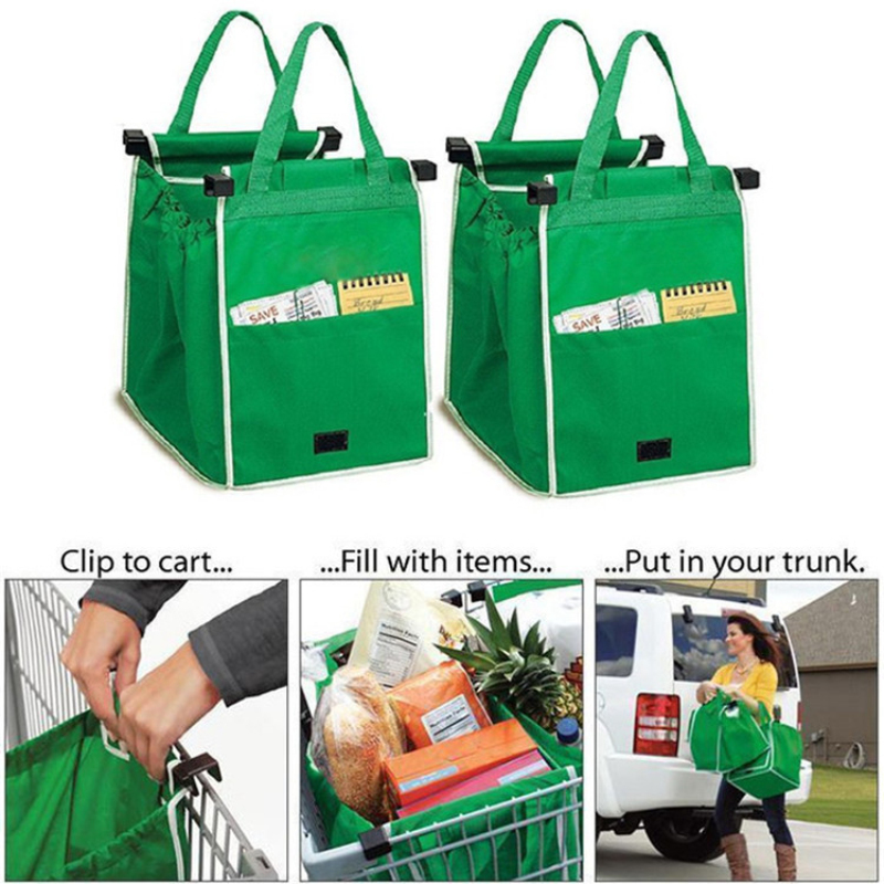2PCS saugojimo maišai sulankstomos tote rankinės Pakartotinai naudojamos vežimėlio klipas į krepšelį Maisto prekių pirkimas