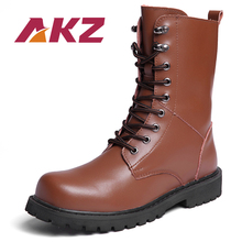 AKZ Man Mid calf Boots New Autumn Winter warm Men Martin High Quality Split leather Male Motorcycle