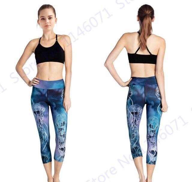 Méduses Sec Fit Femmes Yoga Capri Leggings Marine Bleu Taille Haute Sport  Courir Pantalon Minceur Skinny 560c8c7d932