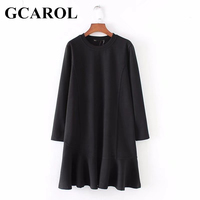 GCAROL New Arrival O Neck Women Trumpet Long Dress High Street Elegant Female Black Dress For