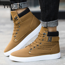 YWEEN New Men's Casual Shoes High-Top Autumn Winter Lace-up Shoes Men Ankle Boots