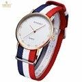 Mujeres del reloj kingsky marca mujeres reloj de cuarzo ocasional de la manera única con estilo relojes correa de nylon del deporte de los hombres de señora relojes de pulsera