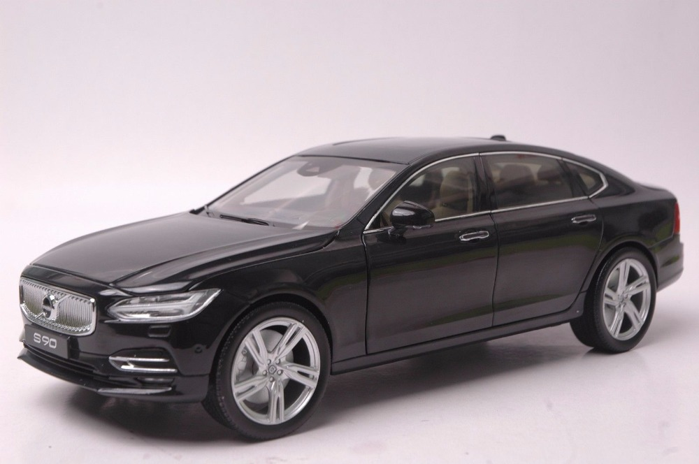 1:18 Diecast Model for Volvo S90 T5H 2016 Black Alloy Toy Car Miniature Collection Gifts 45pcs box cute animal crystal ball mini paper decoration stickers diy diary scrapbooking seal sticker stationery school supplies