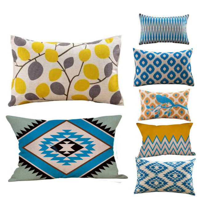 Geometric Printing Pillow Case Cafe Home Decor Cushion Covers Pillow Simple Decorated Pillow Cases