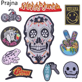 Prajna Bowie Fire Nirvana Patch Stalker Hand Punk Skull Iron On Space UFO Patch Biker Embroidered Patches For Clothes Sticker image