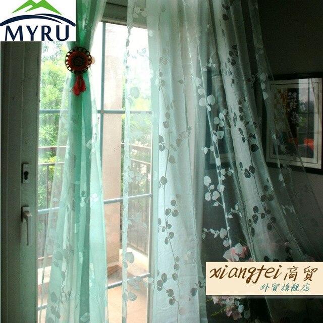 MYRU 140*240 cm mintgroen massaal voile gordijnen ponsen sheer ...