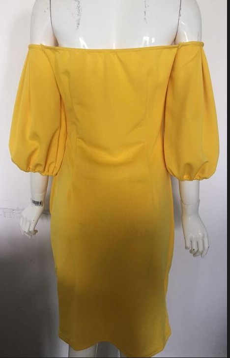 294cbc7ba44d OMILKA 2017 Autumn Women Lantern Sleeve Off the Shoulder Bow Dress Sexy  Yellow Red Half Sleeve Slash Neck Bodycon Club Mid Dress-in Dresses from  Women s ...