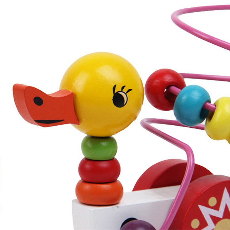 Educational duckling trailer toy mini around beads learning game multicolour children kids puzzle baby infant wooden Toys 8