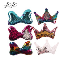 JOJO BOWS 10pcs Reversible Sequin Patches Solid Bow Crown Accessories For Needlework Apparel Sewing Patch DIY Hairbow Materials