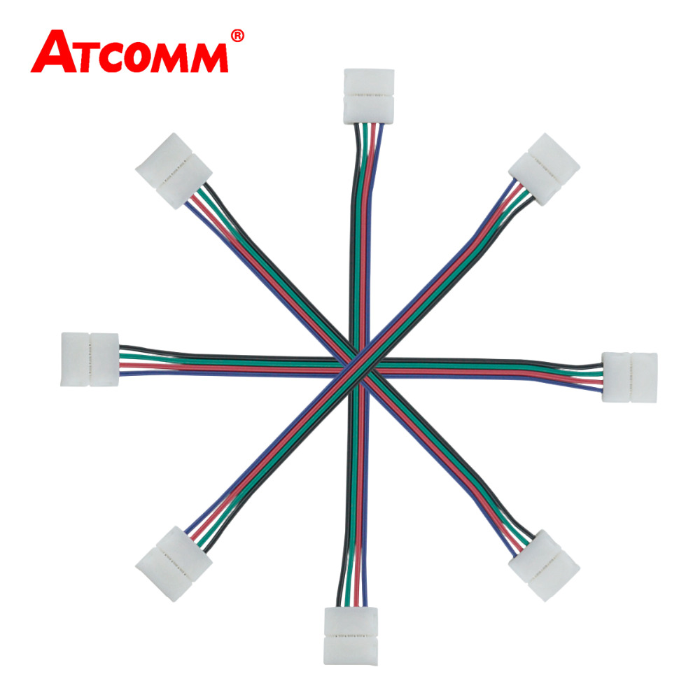 4 Pin RGB Double Connector No need Soldering Clip Cable Led Tape ...