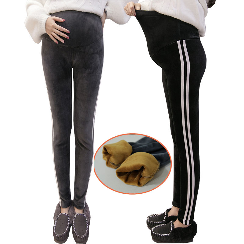 Velvet Maternity Pants Winter Warm Clothes For Pregnant Women Trousers Thicker Casual Stretch Belly Pregnancy Pants Clothing winter maternity plus velvet thickening leggings pants clothes for pregnant women warm high waist suspender pregnancy trousers