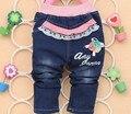 Envío libre 2017 de Primavera de Encaje de Flores chicas de dibujos animados pantalones bordados pantalones de mezclilla niños Coreanos pantalones vaqueros
