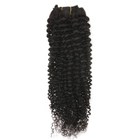 Full Shine Kinky Curly Clip in Hair Extensions Remy Human Hair Natural Black Color 7 Pieces 100g Clip in Hair for Black Women