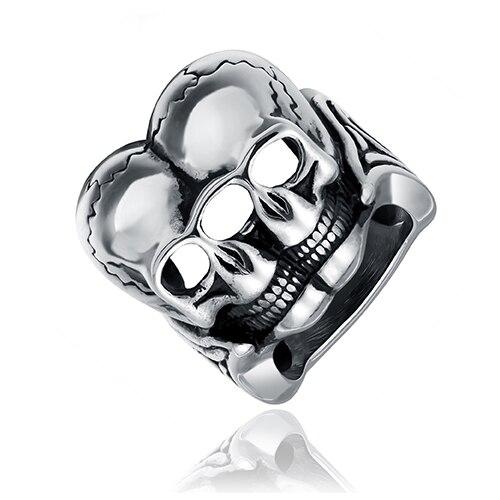 Earoonary dos fantasma cabeza en forma de anillo de moda hecho de metal de acero en color gris para hombre y mujer de belleza y joyas