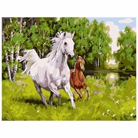 Home Decor Frameless Pictures DIY Painting By Numbers Of Two Horse Animals Oil Painting Home Decoration
