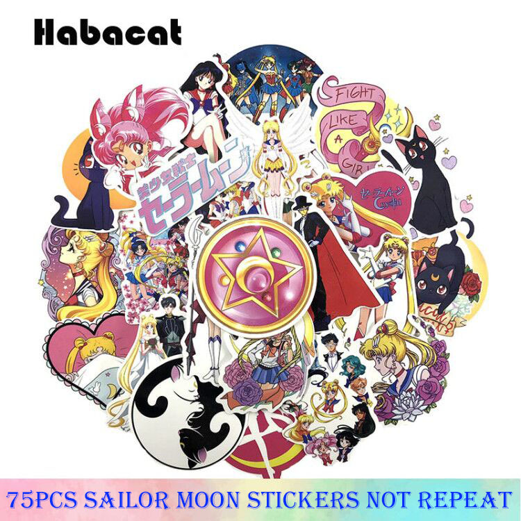 75Pcs/Pack Pretty Creative Cute Cartoon Sailor Moon Stickers For Fridge Backpack Skateboards Motorcycle Toys Gifts Anime Sticker