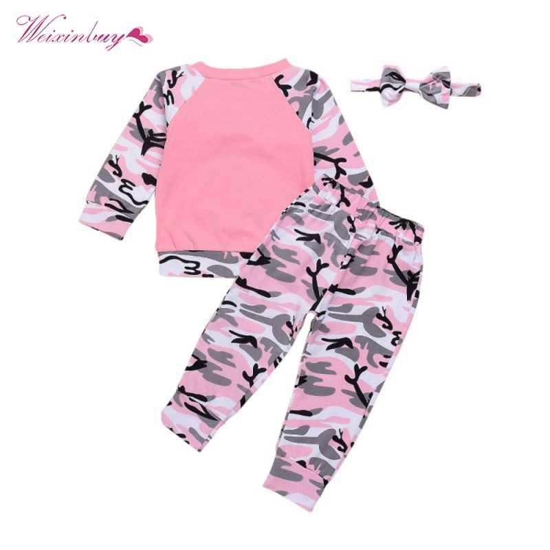 79da961106d5 ... WEIXINBUY Newborn Baby Girls Clothes Set 3PCS Cute Bowknot T-shirt Tops+Camouflage  Pants ...