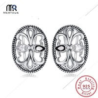 Vintage Jewelry Black White CZ 100 925 Sterling Silver Earrings Brand Quality Mask Earring For Women