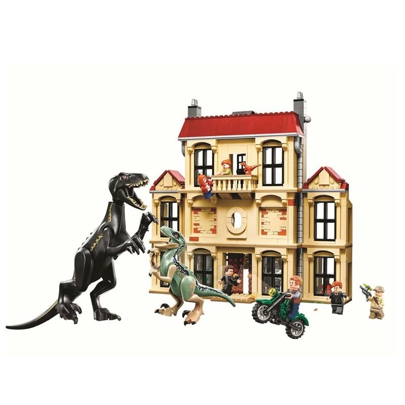 Juniors Jurassic World 2 Indoraptor Rampage at Lockwood Estate Building Block Bricks Toys Compatible Legoings Dinosaur 75930 bela 10919 raptor rescue truck jurassic dinosaur world bricks building block toys compatible with legoings juniors 10757