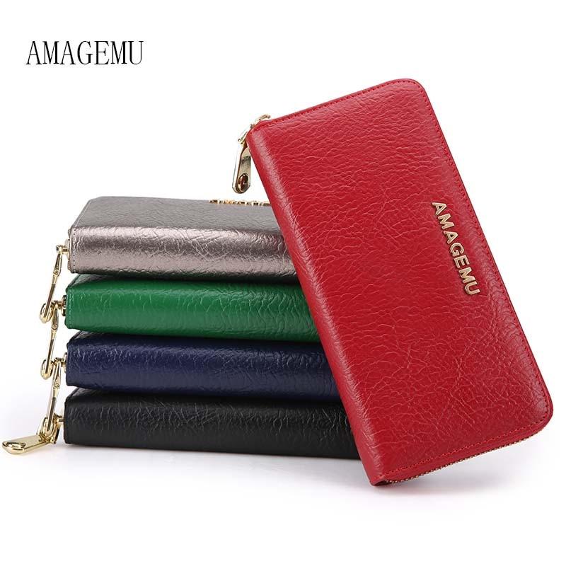 Fashion Female Wallet Genuine Leather Wallet Women 2016 Womens Wallets And Purses Zipper Solid Famous Brands Ladies Wallets Long цена
