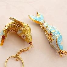 Cloisonne Swing 6,5 Koi Fish брелки брелок Ретро Китай карп эмаль ювелирные изделия аксессуары брелок Подвеска этнический подарок