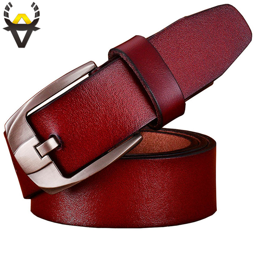 Véritable ceintures en cuir hommes Casual large ceinture pour homme jeans Designer boucle Ardillon Durable à l'usure Haute qualité deuxième couche Cowskin