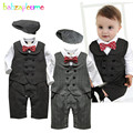 Autumn Winter Baby Clothes Boys Gentleman Style Infant Rompers Jumpsuits Children Clothing Toddler Outfits Newborn set Kids A084