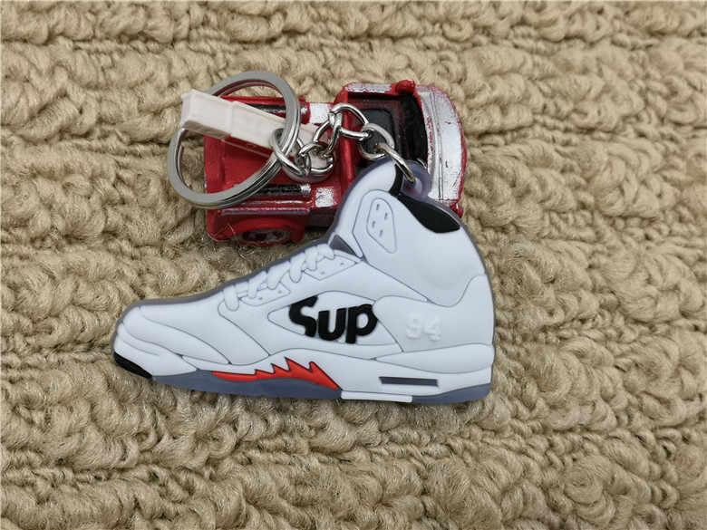 Dễ thương Mini Silicone Jordan 5 AJ Giày Móc Khóa Túi Quyến Rũ Người Phụ Nữ Nam Trẻ Em Móc Khóa Quà Tặng Phụ Kiện Giày Sneaker Chìa khóa mặt dây chuyền