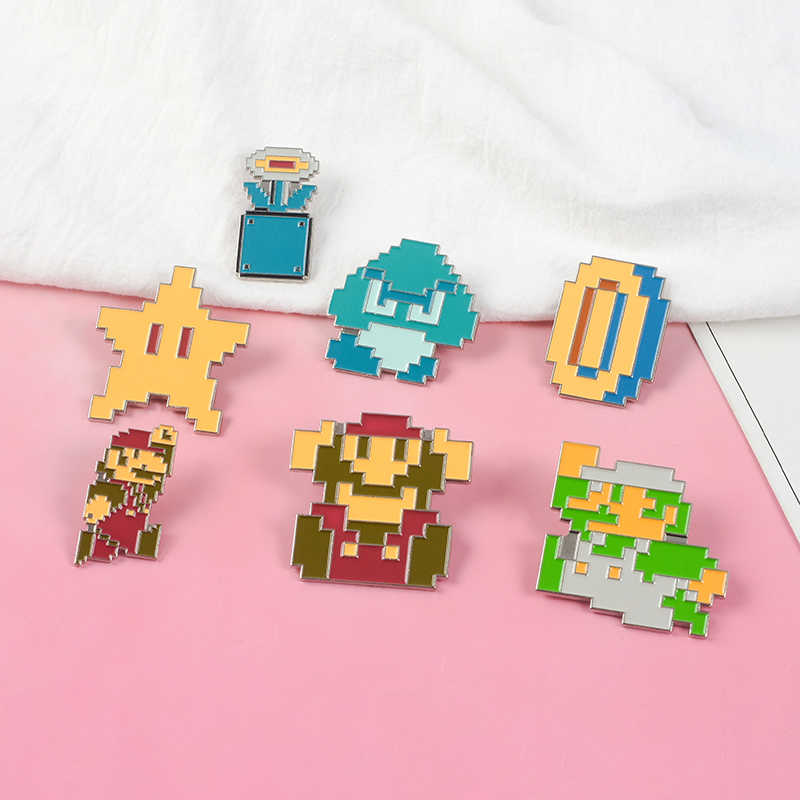 Klassieke Pixels Retro Childhood Broer Luigi Jump Game Over Super Ster Goomba Cartoon Badge Emaille Pin