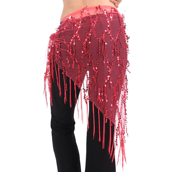Brand New Women Belly Dance Costume Triangle Hand Make Sequin Tassles Mesh Hip Scarf Wrap 9 Colors