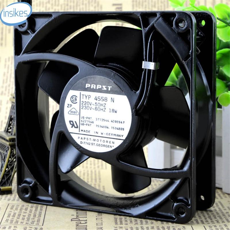 DHL Free 4558N AC 220V-230V 0.12A/0.115A 18W 12038 12cm 120*120*38mm 2 Wires 50/60HZ Aluminum Frame Cooling Fan rosenberg 4558
