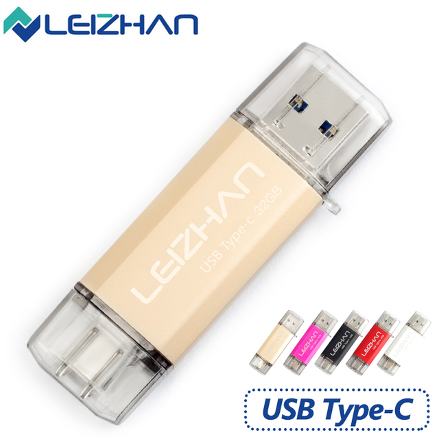 LEIZHAN USB 3.0 Type-C 3.1 Pendrive 32 ГБ Металл USB Flash Drive 64 ГБ пользовательские Pen Drive USB Stick для Телефонов Micro USB Flash Type C