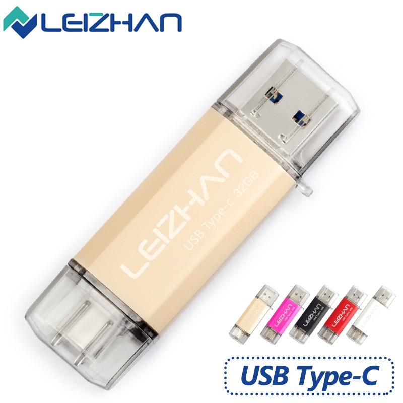 LEIZHAN USB 3 0 Type C 3 1 Pendrive 32GB Metal USB Flash Drive 64GB Custom