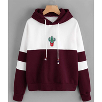 Fannic Drawstring Color Block Cactus Embroidered Hoodie Spring Autumn Long Sleeve Ladies Casual Sporty Pullovers Sweatshirt